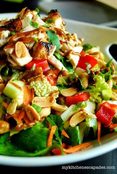 Thai Chicken Salad with Spicy Peanut Sauce the best salad recipe you will ever make!  And super healthy as well
