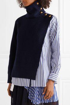 Sacai Paneled Striped Cotton-poplin And Wool Top - Navy Trend Fashion, Diy Fashion, Ideias Fashion, Fashion Outfits, Womens Fashion, Fashion Design, Luxury Fashion, Long Sweaters, Blue Sweaters