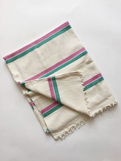 Heather Taylor Home Woven Striped Pink and Green Tablecloth