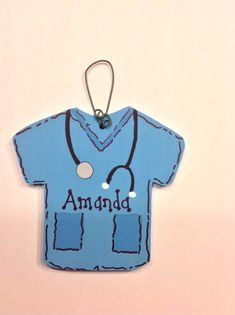 Personalized Wooden Scrub Top Shirt Uniform Ornament - Your Name - Christmas Holiday - Hand Painted Wood Hand Painted Ornaments, Wooden Ornaments, Christmas Holidays, Christmas Ornaments, Christmas Decor, Christmas Tree, Nurse Decor, Cute Scrubs, Wooden Hand