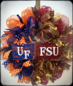 House Divided Football Wreath Any Teams, College, NFL: