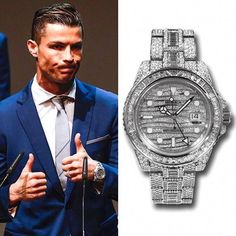Cristiano Ronaldo is wearing a Rolex GMT Master II with factory set diamonds in White Gold ( Rolex Watches For Men, Luxury Watches For Men, Rolex Gmt Master, Cool Sports Cars, Best Watch Brands, Outfit Grid, Rich Kids, Michael Kors Watch, Cristiano Ronaldo