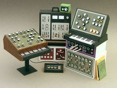 Paper craft models of vintage analog synthesizers