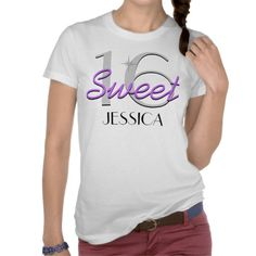 Personalized Sweet 16 Purple Sparkle Tee Shirts.  $26.95