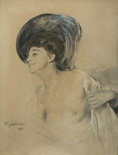 Bolesław Szańkowski - Półakt, 1906, tusz, kredka, papier, 27,6 x 20,6 cm