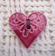Ceramic Heart Button 4cmX4cm Cherry Red handmade by BeadyMagpie, £6.99