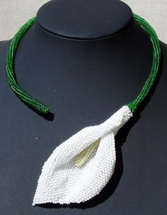 beaded calla flower necklace by Gemsplusleather on Etsy, $75.00