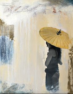 """""""Seeking Shelter"""" ©2013 by Lisa Agaran. Mixed media acrylic, collage & found objects."""