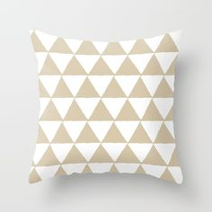 Geometric Triangles Pattern (Sandstone & White) Throw Pillow by vivogrande Geometric Cushions, White Throw Pillows, Triangle Pattern, Coastal Style, The Hamptons, Summer, Summer Time, White Pillows, Verano