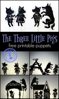 The Three Little Pigs: free printable shadow puppets. Print, cut and stage a shadow puppet show with your kids! Shadow Theatre, Puppets For Kids, Puppet Crafts, Art Prompts, Writing Prompts, Printable Pictures, Three Little Pigs, Shadow Play, Up Book