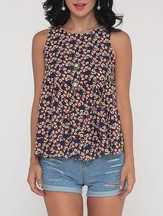#AdoreWe #FashionMia Blouses - FashionMia Floral Printed Polka Dot Loose Fitting Nifty Round Neck Blouse - AdoreWe.com