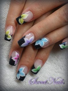 colored flowers by SweetNails24 - Nail Art Gallery nailartgallery.nailsmag.com by Nails Magazine www.nailsmag.com #nailart