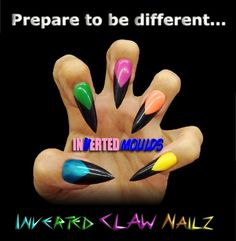 NEON CLAW's using Inverted Moulds with a range of our Neon Acrylics and JETBLACK for the Tips.  By Leanne: Inverted Moulds available from www.easynail.co.uk acrylics from www.thenailartist.co.uk