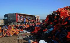 Collecting the life jackets in Lesbos.