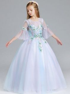 Girls Butterfly Embellishment Mesh Stereo Flowers Party Princess Dress. Princess  Dress KidsPrincess PartyGowns For ... c14467abab4c