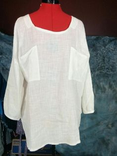 30fd27ec5e061 NEW Solid Off White 100% Cotton Blouse Front Pockets Johnature Oversize One  Size