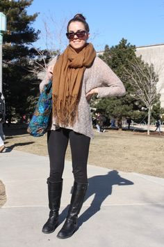 I LOVE SCARVES. They're essential in New England. And the whole sweater-leggings-boots combo is a staple of mine anyways #17college