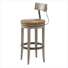 Lexington Twilight Bay Dalton Bar Stool in Driftwood - The concave back and serpentine vertical supports on the Dalton Bar and Counter Stools lend a softness to the silhouette that is enhanced by the round shape of the hand-woven rush swivel seats. The Driftwood finish highlights the use of metal on the backs of the stools and kick plates.  Features: Driftwood finish - soft taupe-gray color applied to a panel that has been textured to create a weathered effect. Bar height.