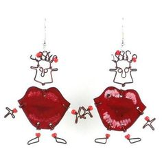Buy Dancing Girl Kiss Me Quick Earrings - Creative Alternatives. Jewelry - Dancing Girl Kiss Me Quick Earrings - Creative Alternatives. Dancing Girl Kiss Me Quick Earrings - Creative AlternativesThis handmade novelty pair of dancing girl earrings features Handmade Jewelry Designs, Earrings Handmade, Handmade Ideas, Unique Earrings, Handcrafted Jewelry, Playful Kiss, Gold Diy, Girls Earrings, Girl Dancing