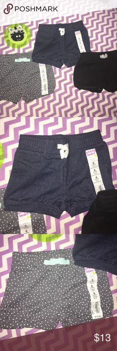 3 Pairs of Bubble Shorts 2 brand new with tags and one pair worn once and washed. Grey with blue polka dots, denim and black! Super cute. All 3 come together! Jumping Beans  Bottoms Shorts