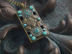 Mosaic Pendant Necklace No 35 by mjirvine on Etsy, $40.00