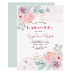 Winter Wonderland Snowflake and Floral Quinceanera Invitation #Ad , #sponsored, #Floral#Quinceanera#Invitation#Snowflake Quinceanera Invitations, Pink Invitations, Birthday Invitations, Cute Love Heart, Princess Theme Party, 15th Birthday, Party Themes, Themed Parties, Lilac