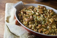 Looking for Thanksgiving stuffing that tastes like you remember?  Try this old-fashioned bread stuffing with sage - it's a classic, and appears on my family's Thanksgiving dinner table every year!