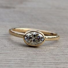 Oval Moissanite Ring - Forever Brilliant Moissanite and Recycled 14k Yellow Gold Solitaire Engagement Ring, Conflict-Free, Made to Order