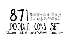 871 Hand Draw doodle icons set by TKDoodle  on @creativemarket