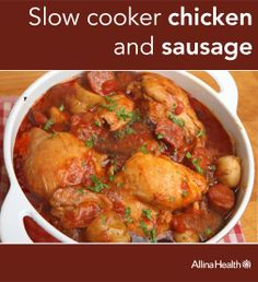 Slow cooker chicken and sausage: Looking for something warm and healthy to make for dinner this week? Try our slow cooker chicken and sausage recipe. You'll get a full serving of vegetables in 1/2 cup of the sauce! #crockpot #slowcooker #heartsmart  http://www.allinahealth.org/Health-Conditions-and-Treatments/Eat-healthy/Recipes/Main-dishes/Slow-cooker-chicken-and-sausage/#glutenfree #lowsodium