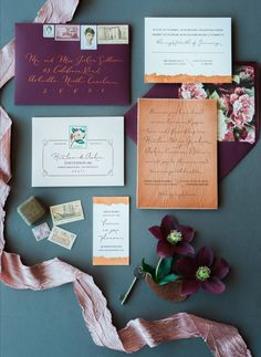 Deep purple winter invitation suite: http://www.stylemepretty.com/little-black-book-blog/2016/04/07/cranberry-copper-winter-wedding-inspiration-cute-pup-included/ | Photography: Charlotte Jenks Lewis - http://charlottejenkslewis.com/