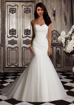 Pleated Trumpet / Mermaid Sweetheart  Court Ruching  Wedding Dress