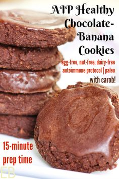 Just a few healthy ingredients, amp; these AIP Chocolate-Banana Cookies come together to be a wonderful treat, snack, or even eat them with a meal. go breakfasts even with a sausage on the side. Great for cookie parties or everyday. Paleo Dessert, Gluten Free Desserts, Dessert Recipes, Healthy Desserts, Gourmet Recipes, Real Food Recipes, Paleo Recipes, Paleo Cookies, Partys