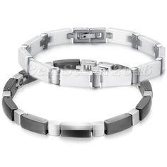 """Men Women White Black Square Ceramic Stainless Steel Cross Link Bracelet, 7.7"""" #Unbranded #Bangle"""