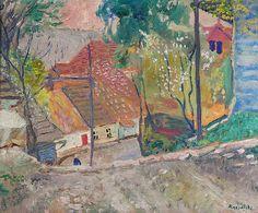 Czesław RZEPIŃSKI (1905-1995)  Pejzaż, przed 1939 olej, płótno; 50 x 60,5 cm;