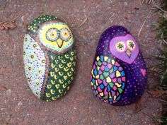 Owls painted on stone H Reardon