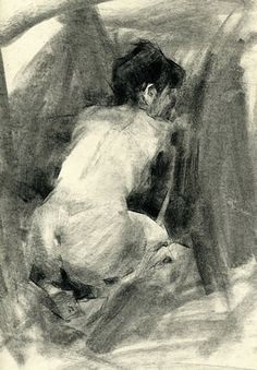"""Marissa"" by Jennifer McChristian, discreet female nude posterior back charcoal on toned paper drawing"
