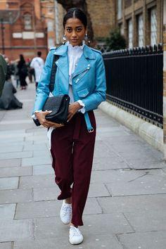The London Fashion Week Looks That Shut. It. Down. blue leather jacket, blue motorcycle jacket