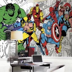 """Bring Captain America, Hulk, Iron Man, Spider-Man, Thor, and Wolverine to your walls with this Marvel Classics character mural. Great for any comic book fan, this XL wall mural is perfect to finish any space. Application is simple: roll each prepasted panel up in warm water, then bring it to the wall. Multi-color wall decal. Prepasted/Ultra-strippable. 72"""" H x 126"""" W/2.9lbs. Please allow 1-2 weeks for shiping."""