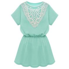 Zmart Women's Lace Pleated Waist Short Casual Dress ($14) ❤ liked on Polyvore featuring dresses, short green dress, lace dress, green dress, lace pleated dress and short pleated dress