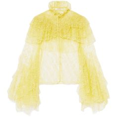 Rodarte Ruffled lace blouse (10.790 RON) ❤ liked on Polyvore featuring tops, blouses, yellow, sheer blouses, ruffle blouse, see through blouse, lace top and sheer lace top