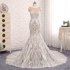 Luxury Lace Mermaid Wedding Dress Bridal Gown Long