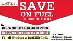 Special Discounts! Discount Petrol Re1 and Diesel 0.30 per litre. For complete details visit: https://www.iamsmeofindia.com/schemes/Discount-Petrol-Re1-and-Diesel-0.30-per-litre