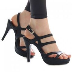 Heels I LOVE! Black Party Stiletto and Solid Color Design Women's Sandals #Sexy #Sandals #Pumps #Heels