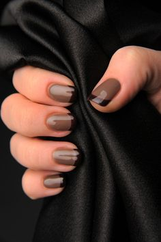 Brown French Nails