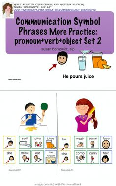 http://www.teacherspayteachers.com/Product/Communication-Symbol-More-Phrases-PronVerbObj-Set-2-AAC-Autism-1132614: $  More practice for using communication symbol phrases for aac users. The 5th set. - created via http://pinthemall.net