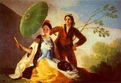 """""""El quitasol"""" Autor: Francisco de Goya 1777 Óleo sobre lienzo-Rococó Muy bonita, la escena esta dotada de muchos colores  cálidos como amarillos, transmitiendo alegría y mucha sencillez."""