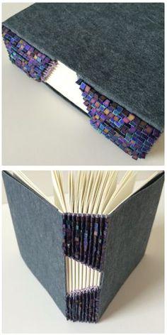 Buttonhole Binding No.4 by Bari Zaki with japanese seed beads - #bookbinding