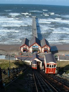 Saltburn by the Sea venicular railway, Teeside, UK. The restaurant we had lunch in today had vintage posters of Saltburn all around the walls, I asked why and the owner said she loved the place so here it is!
