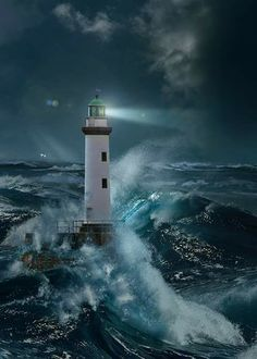 : # Lighthouses - Lighthouse In The Storm By Moonlight. Title: Lighthouse In The Storm By Moonlight. Lighthouse Storm, Lighthouse Painting, Lighthouse Pictures, Lighthouse Sketch, Stormy Sea, Stormy Night, Stürmische See, Beacon Of Light, Belle Photo